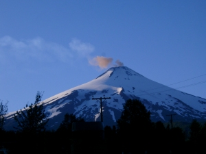 Ash puff from the summit of volcan Villarrica, Chile