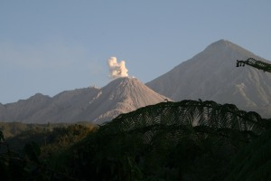 The active domes of Santiaguito volcano, in the foreground, with the remains of Santa Maria volcano in the background.