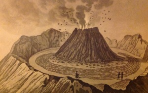 The crater of Vesuvius, before the eruption of 1767. Engraving by Ambroise Tardieu.