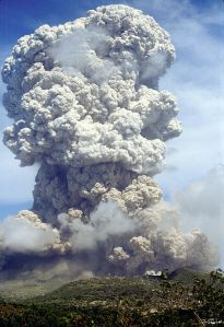 A 'Vulcanian' explosion from Soufriere Hills Volcano. Notice that as well as producing an eruptive column this is producing fast moving pyroclastic flows, travelling down some of the valley. Photo Barry Voight and courtesy NSF.