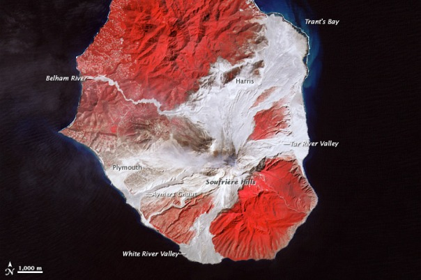 This is a false-coloured ASTER image from NASA to show the deposits from the major dome collapse in Feburary 2010. This shows very clearly how the flows generated tend to follow valleys but their hugely energies mean that they do not entirely remain in those valleys - spreading further.