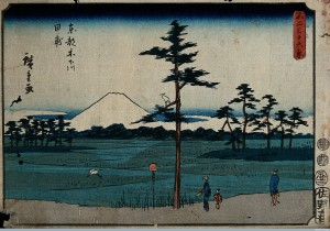 Mount Fuji seen from Kinegawa, a village on the far east side of Edo. Colour woodcut by Hiroshige, 1852.  1852