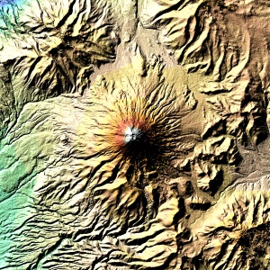 False-coloured image from the Space Shuttle Endeavour's 2000 mission to map the Earth's topography. This image emphasises the steep-sided valleys created by Cotopaxi's frequent lahars. Image Credit: NASA